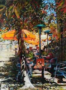 Ice Bear aka Chris Johnson Original Painting Summer Patio Lanscape Canadian