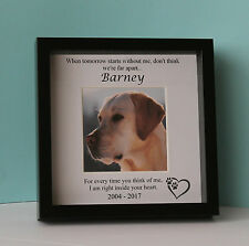 Personalised Black  Photo Frame Pet Memory Bereavement Remembrance Gift Dog Cat