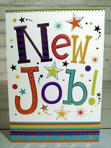 New Job! Greetings Card, Multi-Coloured With Stars