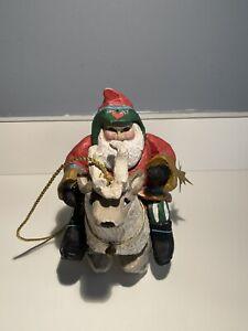 Vintage 1993 HOUSE OF HATTEN ORNAMENT Santa Riding Reindeer Folk Art Denise Cala