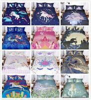 3D Bohemia Rainbow Unicorn Kids Duvet Cover Set Pillowcase Quilt Comforter Cover