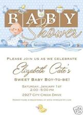 10 PRINTED Cute Boy Baby Shower Blue Ducky Invitations
