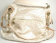 NEW BEAUTIFUL SATCHI PVC CANVAS Logo Natural Vachetta Leather Handbag ~
