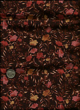 """""""Keiko Large Floral"""" Print rose on brown Fabric by The Henley Studio for Makower"""