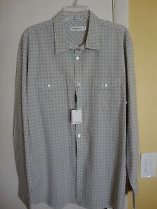 Calvin Klein New Mens Plaid Button Up Shirt Size Large
