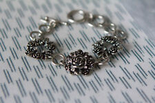 Miss Fox Silver Style Flower Detail Bracelet with Small Inset Diamontes