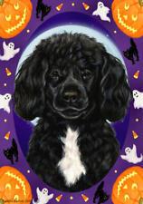 Portuguese Water Dog Black & White No Beard Halloween Howls Flag