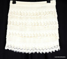 American Eagle Outfitters 2 Romantic Ivory Crochet Lace Tiered Mini Skirt