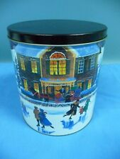 Hal Kattau 2002 Empty Decorative Round Metal Tin Winter Snow Scene