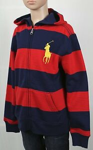 Children POLO Ralph Lauren Red Navy Blue Striped Big Pony Hoodie NWT