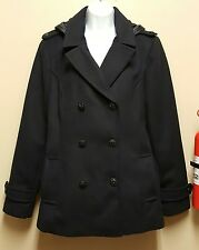 Attention LARGE Black Coat Trench Coat Hood Double Breasted Jacket Military