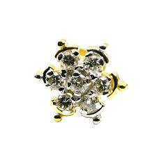 Real Diamond Flower 18K Gold Nose Stud Screw Ring Monroe Libret Piercing