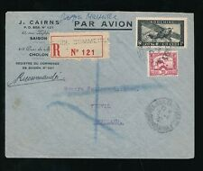 FRENCH INDOCHINA 1937 REGISTERED SAIGON COMMERCE HANDSTAMP AIRMAIL J.CAIRNS ENV