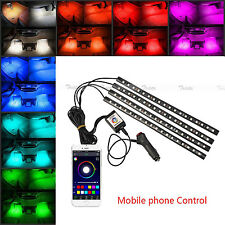 4x18 LED Car Atmosphere RGB Phone App Music Control Strip Lights Interior Kit