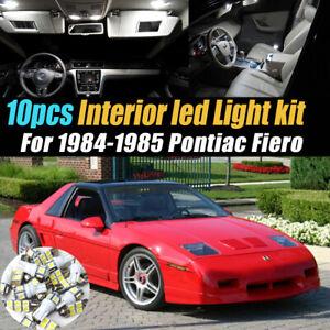 10pc Super White Car Interior LED Light Bulb Kit for 1984-1985 Pontiac Fiero