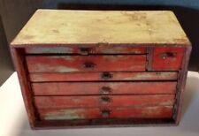 Antique U M S Key Service Kit Machinist Tool Box (Farm Paint)