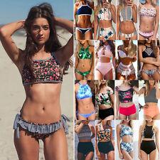 femme push-up rembourré Ensemble Bikini Bandage col montant Plage