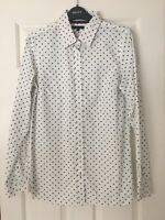 Womens New Tommy Hilfiger White Shirt with Black Polka Dots Label 6 UK Size 8