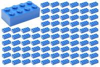 ☀️100 NEW LEGO 2x4 BLUE Bricks (ID 3001) BULK Parts star wars city Sky Ocean