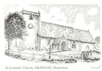 Art Sketch Postcard St Leonards Church, Grateley, Hampshire by Don Vincent AS1