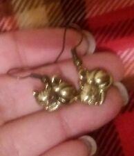 Feline cat kitty kitten earrings bronze drop earrings brand new