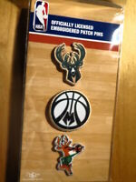 Official Licensed NBA Milwaukee Bucks Embroidered Patch Pin Set