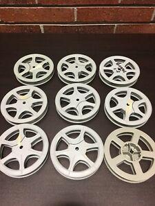 "2, VINTAGE 16MM 300 FT. 5"" X 3/4 INCH Plastic MOVIE FILM REEL"