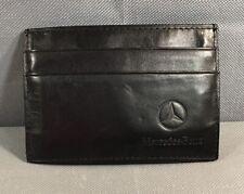 Mercedes Benz Black Leather Slim ID Credit Card Holder Cash Wallet