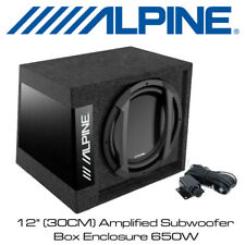 "Alpine SWD-355 - 12"" (30CM) Amplified Subwoofer Box Enclosure 650W Bass Remote"