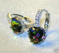 Women's silver mystic topaz dangle / drop heart earrings / UK