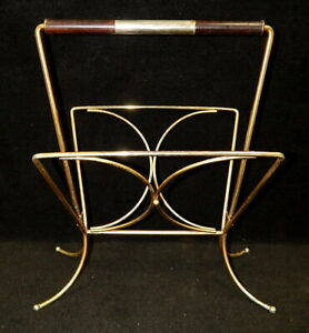 Mid Century modern retro metal wire magazine rack floor stand