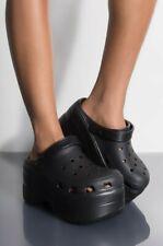 Cape Robbin Gardener Platform Black Mule Clogs Slippers Fashion Designer Shoes