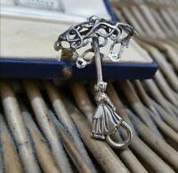 Vintage Sterling Silver Brooch Pin, Dutch Girl Under Umbrella, Art Deco