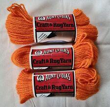 3 skeins Vintage Aunt Lydia's Rug Yarn Pumpkin, 60 yards each with pattern