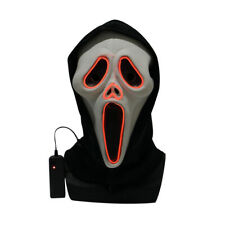 Ghost Face Costume Mask Luminous Scream Halloween Adult Scary Horror LED Mask