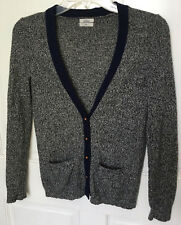 Wallace J. Crew Women's XS Cardigan Sweater Merino Wool Black White Marled Navy