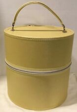 Vintage Pale Yellow Hat Box Wig Large Luggage Tall Carrying Case Mid Century Euc