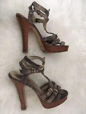 NEW Look Sandali Con Tacchi Taglia 5 piattaforma scarpe fibbia alla caviglia in gabbia serpente stampato