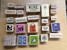 Lot Of 22 Rubber Wood Stamps + Alphabet Rubber Stamp Set PSX