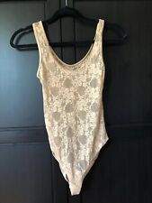 American apparel stretch floral lace bodysuit in beige size small