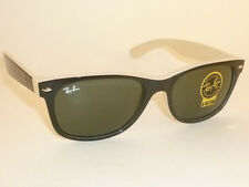 New RAY BAN  Sunglasses WAYFARER  Top Black On Beige  RB 2132 875 G-15 Lens 52mm