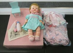 Vintage American Character 1958 Toodles Baby Doll W/ Clothing Accessories Case *
