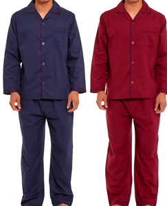mens pyjama set made from 100% cotton in Maroon or Navy sizes S to 2XL Free P&P