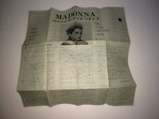 MADONNA S/TSelf Title Burning Up LYRICS INSERT ONLY Cassette 1982 Japan PKF-5423