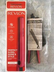"REVLON Tourmaline Ceramic Flat Iron  1"" PLATES PINK NEW IN BOX"