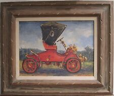 ANTIQUE CA AMERICAN IMPRESSIONIST AUTO 1903 2 CYLINDER MODEL A FINE OIL PAINTING
