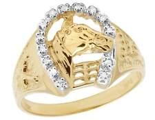 Men's 10k Yellow Gold Genuine Diamond Horseshoe Stable Signet Ring 1/10 Ct