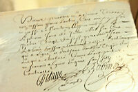 1697 LOUIS XIV royal notary signed manuscript nice signatures and calligraphy
