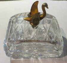 Boite à bijoux en verre ciselé avec 1 cygne en laiton