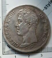 H20206 pièce monnaie belle copie 5 francs charles X 1826 A pas en argent copy